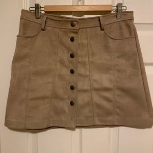 Tan button up suede mini skirt